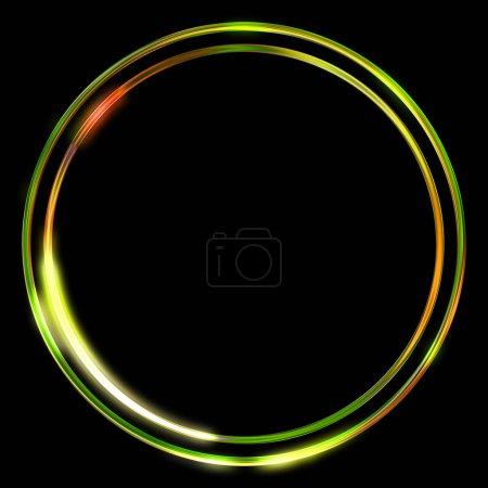 Cadre lumineux arrière-plan. Gabarit géométrique néon brillant isolé sur fond noir. Illustration 2D abstraite .