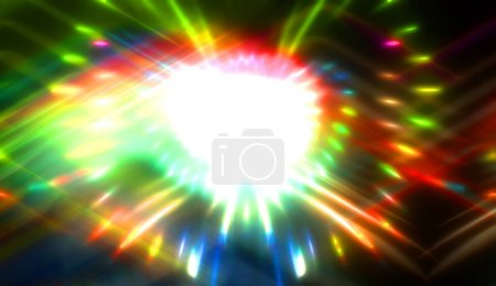 Photo pour Pretty background of crossing beams of light and glowing particles. Wallpaper of vibrant colorful lights. Shinny light display - image libre de droit
