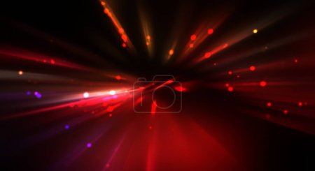 Photo for Dynamic moving burst of light. Beautiful shinning background of colorful lights. Vibrant energy display of a star with glowing light rays and particles. - Royalty Free Image