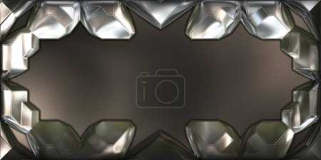 Photo for SciFi Menu Background. Metallic reflective 3D illustration. Futuristic design template. Metal plates with ligh refraction. - Royalty Free Image