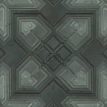 Foto de Seamless SciFi Panels. Futuristic texture. Spaceship hull geometric pattern. 3d illustration. Technology concept. - Imagen libre de derechos