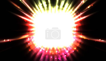 Pretty background of crossing beams of light and glowing particles. Wallpaper of vibrant colorful lights. Shinny light display