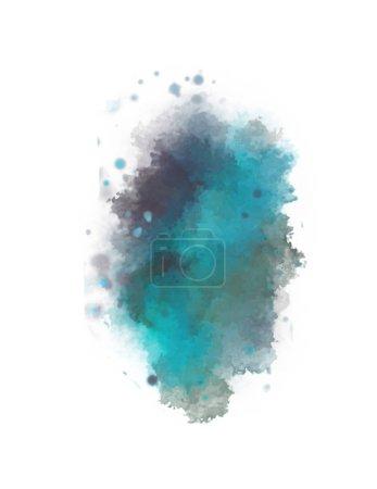 Foto de Fondo de acuarela pintado con blots y chispas. Pintura trazada en brocha. 2d Ilustración. - Imagen libre de derechos