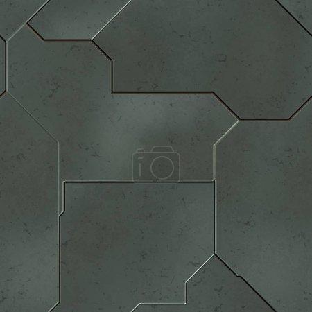 Foto de Paneles SciFi sin costuras. Textura futurista. Nave espacial patrón geométrico del casco. Ilustración 3d. Concepto tecnológico . - Imagen libre de derechos