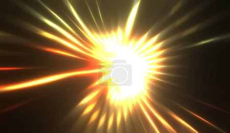 Photo for Spectacular light show. Colorful and vibrant particle explotion with glowing rays of light. Multicolored star burst. - Royalty Free Image