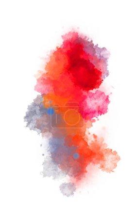 Photo pour Aquarelle peint fond avec taches et éclaboussures. Pinceau caressé peinture. Illustration 2D . - image libre de droit