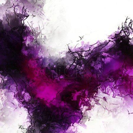 Foto de Brochas de pintura a color abstracto sobre textura de lienzo. Pintura de fondo. Ilustración contemporánea moderna de las paredes. Arte colorido para el fondo. - Imagen libre de derechos