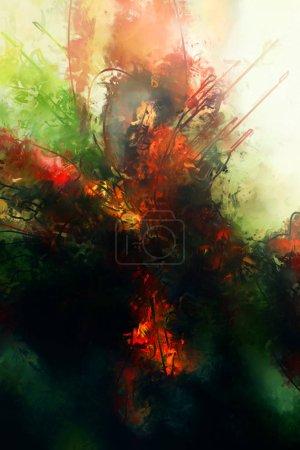 Photo pour Coups de pinceau abstraits sur la texture de la toile. Peinture de fond. Illustration murale contemporaine moderne. Oeuvre colorée pour fond . - image libre de droit