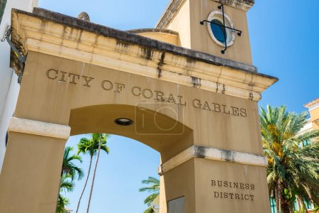 Photo for Cityscape sign view of the entrance to the downtown business district in Coral Gables, Florida. - Royalty Free Image