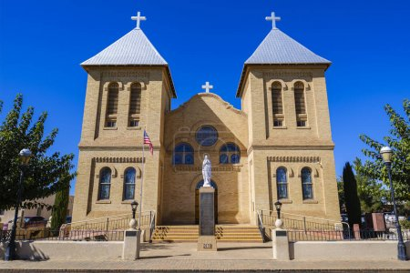 Photo for Mesilla, New Mexico USA - October 26, 2019: The Basilica of San Albino, a roman catholic church, was constructed in 1906 located in Las Cruces. - Royalty Free Image