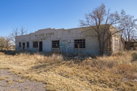 Photo for Duran, New Mexico USA - October 25, 2019: Closed and abandoned merchandise store in the rural desert town of Duran. - Royalty Free Image