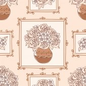 Seamless pattern with bouquet of roses in vase vector illustration