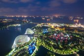 Aerial night view of Singapore Gardens near Marina Bay in Singap