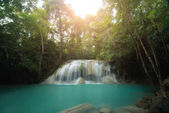 Erawan Waterfall is a beautiful waterfall in spring forest in Ka