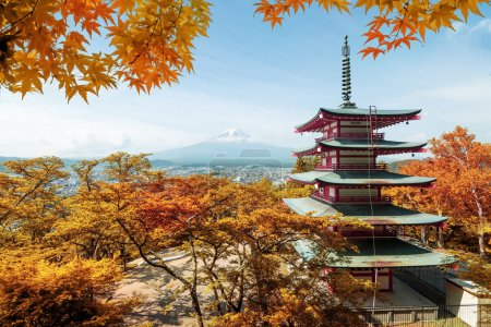 Mt. Fuji and red pagoda with autumn colors in  Japan,  Japan aut