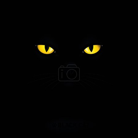Illustration for Black cat with yellow eyes. - Royalty Free Image