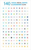 140 Social currency cryptocurrency icons set Circle icons Colorful