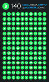 140 Social currency cryptocurrency icons set Circle Neon icons Green