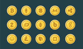Cryptocurrency gold icons set