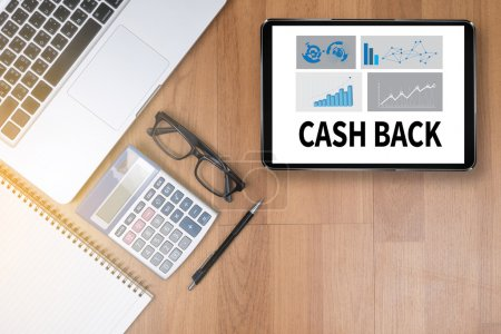 Photo for CASH BACK Top view of office desktop, laptop computer work - Royalty Free Image