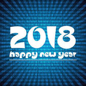 happy new year 2018 on blue stripped binary code background eps10