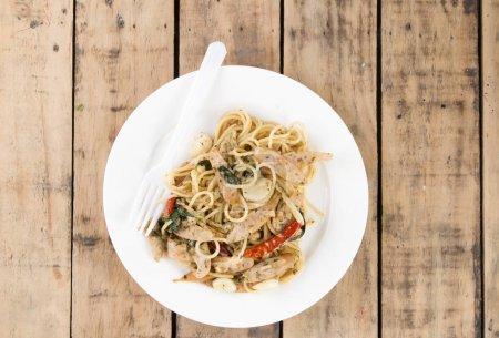 spaghetti on white dish