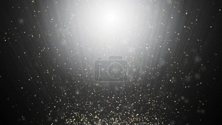 Photo for Abstract black and white swirl waves background flying particles in light beams - Royalty Free Image