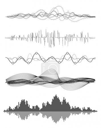 Illustration pour Vecteur musique ondes sonores réglées. Technologie d'égaliseur numérique audio, panneau de console, pulsation musicale. - image libre de droit