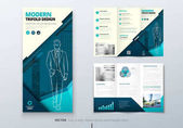 Tri fold brochure design Teal DL Corporate business template for try fold brochure or flyer Layout with modern elements and abstract background Creative concept folded flyer or brochure
