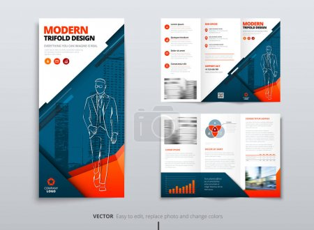 Illustration for Tri fold brochure design. Blue orange DL Corporate business template for try fold brochure or flyer. Layout with modern elements and abstract background. Creative concept folded flyer or brochure. - Royalty Free Image