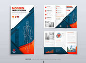 Tri fold brochure design Blue orange DL Corporate business template for try fold brochure or flyer Layout with modern elements and abstract background Creative concept folded flyer or brochure