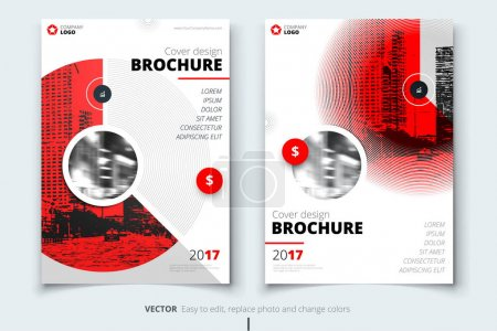 Illustration for Brochure design. Corporate business report cover, brochure or flyer design. Leaflet presentation. Flyer with abstract circle, round shapes background. Modern poster magazine, layout, template. A4. - Royalty Free Image