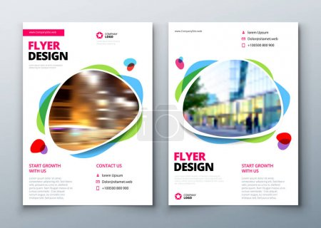 Illustration for Flyer template layout design. Business flyer, brochure, magazine or flier mockup in bright colors. Vector - Royalty Free Image