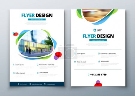 Flyer template layout design. Business flyer, brochure, magazine or flier mockup in bright colors. Vector