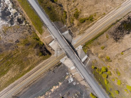 Photo for Panorama aerial view shot on the road bridge over railway, above - Royalty Free Image