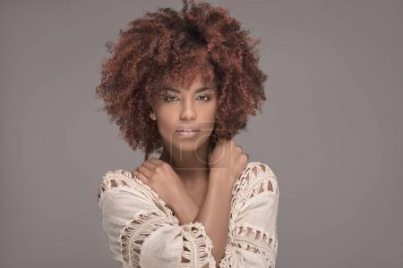 Photo for Beauty portrait of african american woman with afro hairstyle and glamour makeup. - Royalty Free Image