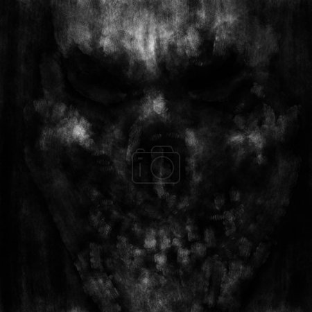 Skull face with creepy eyes. Black and white cover in horror genre with coal and noise effect.