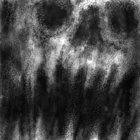 Evil demon skull with opened mouth. Black and white illustration in horror genre with coal and noise effect.
