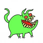 Funny cute green monster smiles and runs Vector illustration