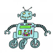 Cheerful robot on wheels vector illustration