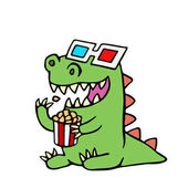 Funny dinosaur in 3d glasses and a box of popcorn Vector illustration Cute cartoon character
