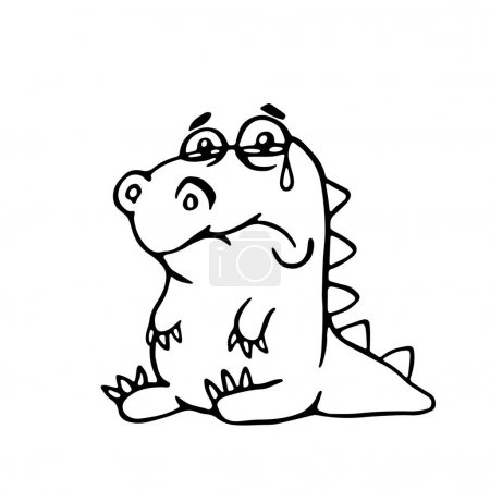 Cute sad dragon. vector illustration. funny cartoo...