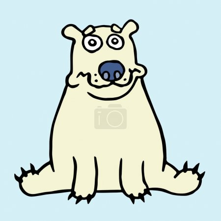 Cartoon lonely polar bear sitting and looking. Vec...