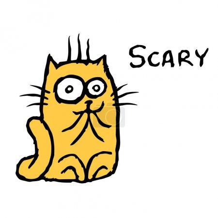 Scared orange cat Tik. Vector illustration. Cheerf...