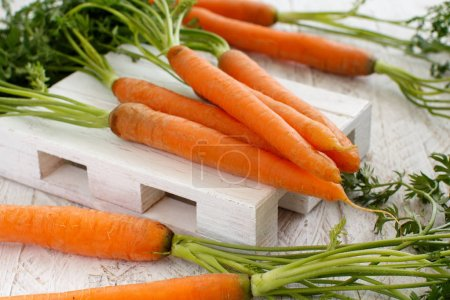 Photo for Fresh raw carrots with leaves on a white wooden table - Royalty Free Image