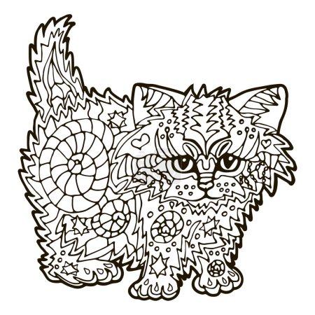 Illustration for Illustration with hand drawn cat with doodles. Drawing for coloring book. Hand Drawn zentangle. - Royalty Free Image