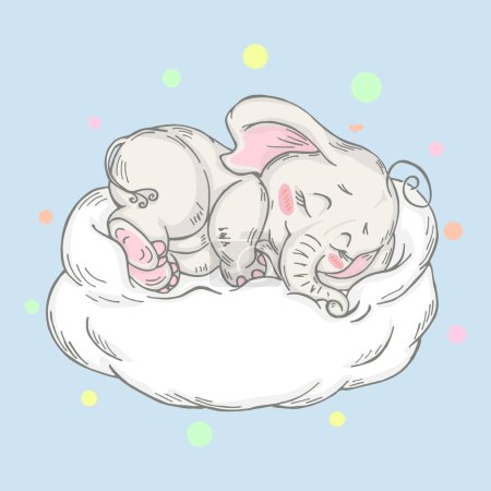 Illustration for Illustration with cute elephant that sleeps. Can be used for baby t-shirt print, fashion print design, kids wear, baby shower celebration greeting and invitation card. - Royalty Free Image