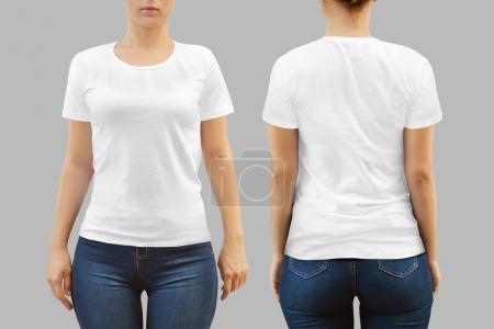 Photo pour Modèle de T-shirt femme pour vos impressions aperçu - image libre de droit