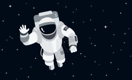 Photo pour Astronaute dans l'espace extérieur illustration vectorielle concept dans le style plat - image libre de droit