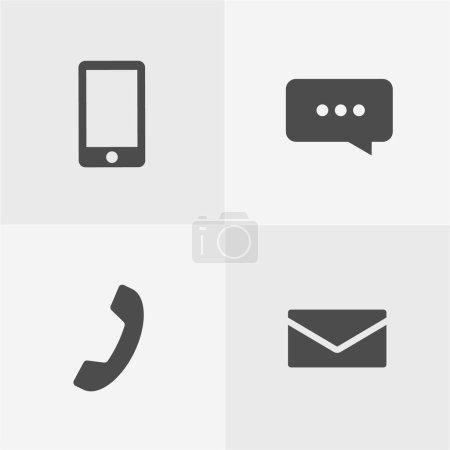 Photo pour Simple Icônes de contact Set, y compris appel mobile, messages, chat, etc. .. - image libre de droit